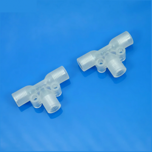 "Adapters & Connectors: Tee Tubing Junction Connector, 1/4""-28 Thread, PP or PTFE Material, 30 Pieces/Pk"